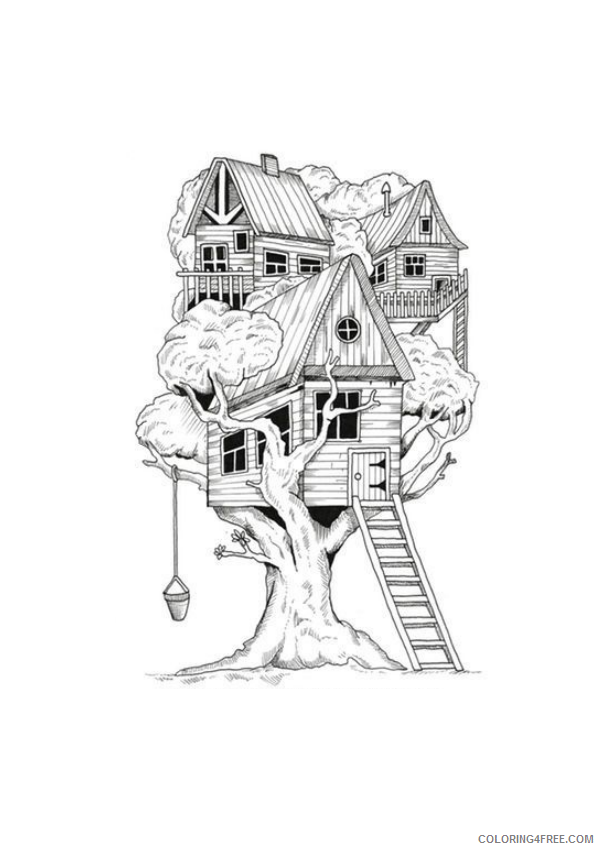 Treehouse Coloring Pages for Kids tree house Printable 2021 690 Coloring4free