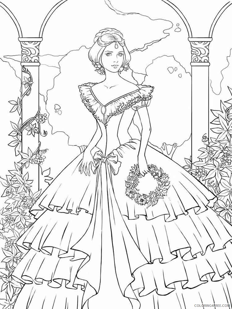 Victorian Woman Coloring Pages for Girls victorian woman 1 Printable 2021 1382 Coloring4free