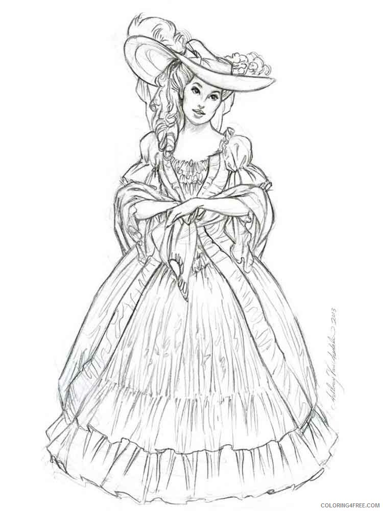 Victorian Woman Coloring Pages for Girls victorian woman 4 Printable 2021 1386 Coloring4free