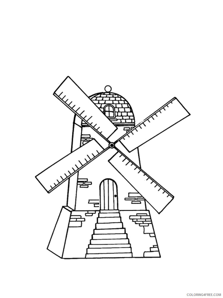 Windmill Coloring Pages for Kids Windmill 10 Printable 2021 769 Coloring4free