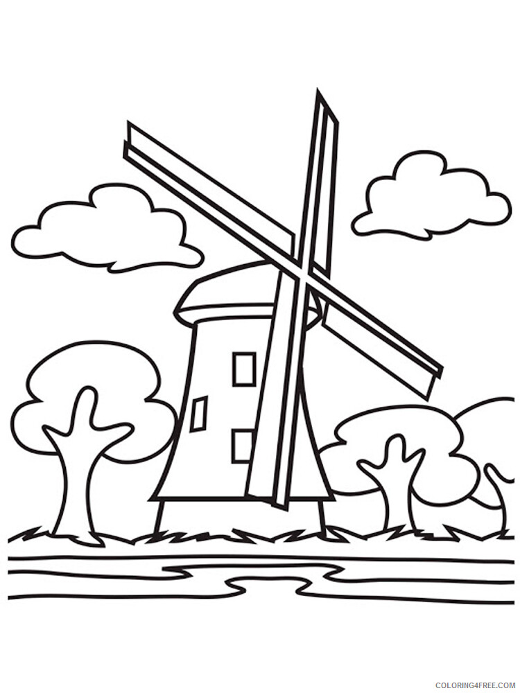 Windmill Coloring Pages for Kids Windmill 11 Printable 2021 770 Coloring4free