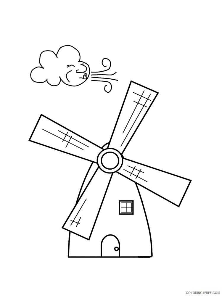 Windmill Coloring Pages for Kids Windmill 16 Printable 2021 775 Coloring4free