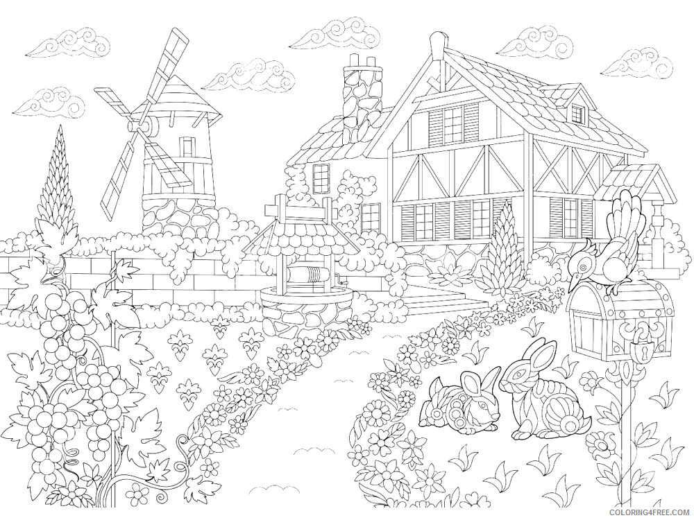 Windmill Coloring Pages for Kids Windmill 4 Printable 2021 778 Coloring4free