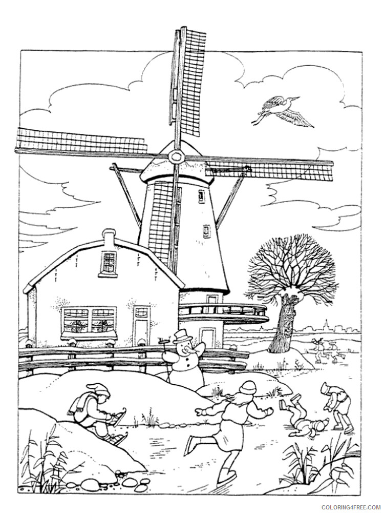 Windmill Coloring Pages for Kids Windmill 7 Printable 2021 780 Coloring4free