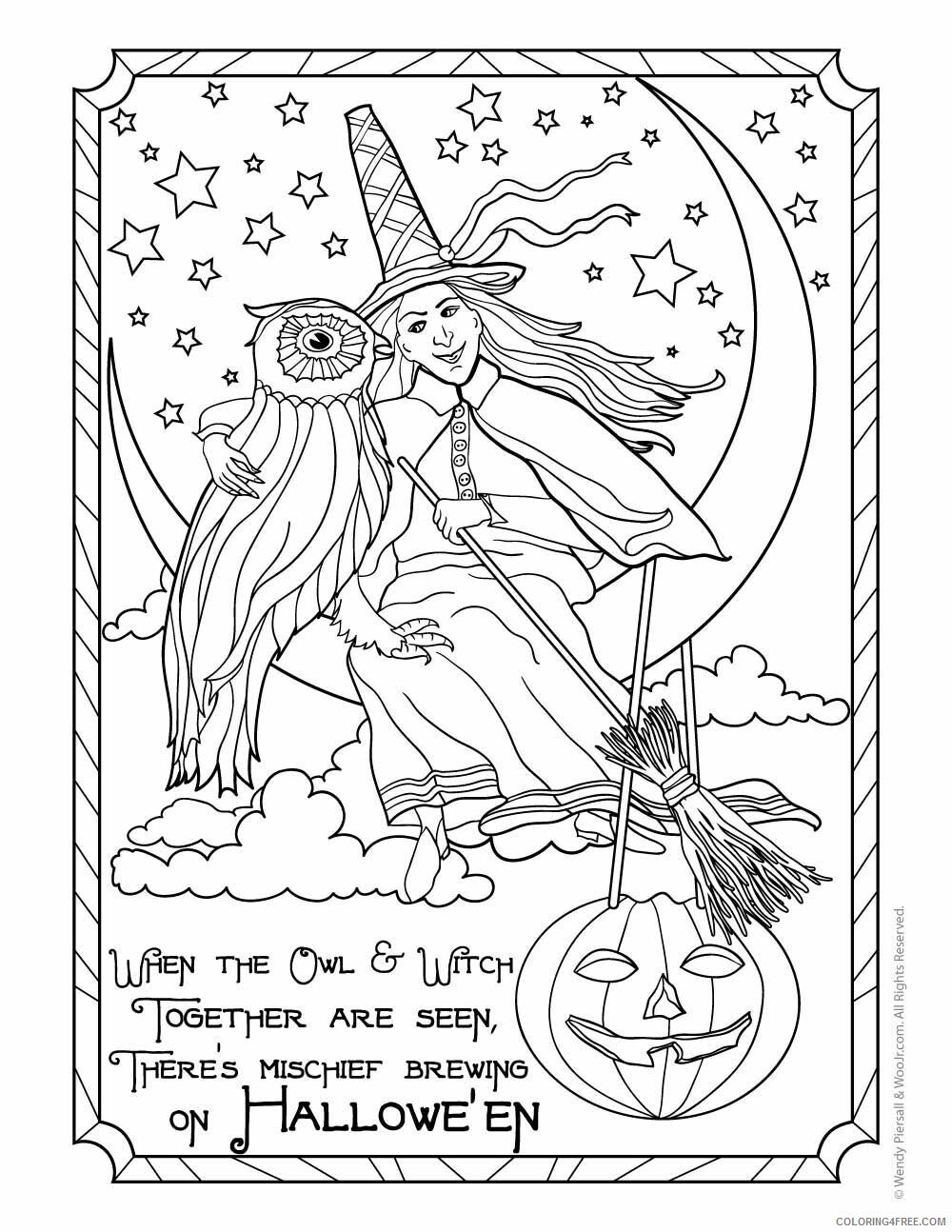 Witch Coloring Pages for Girls Halloween Witch 2 Printable 2021 1398 Coloring4free