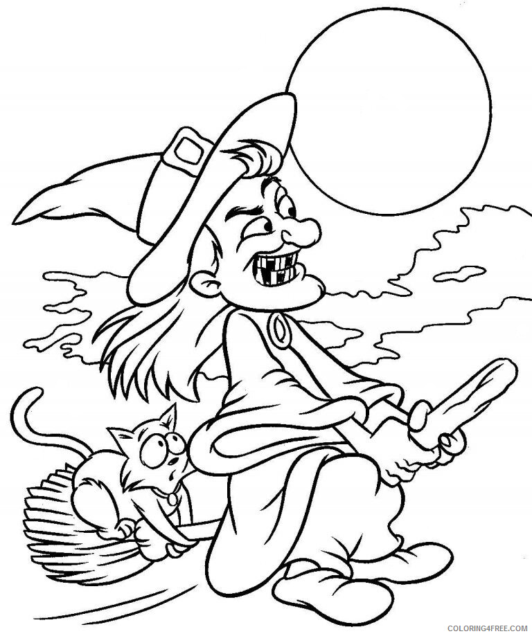 Witch Coloring Pages for Girls Halloween Witch Printable 2021 1401 Coloring4free