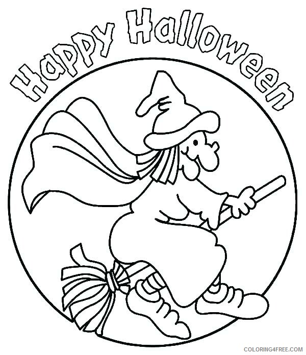 Witch Coloring Pages for Girls Happy Halloween Witch Sign Printable 2021 Coloring4free