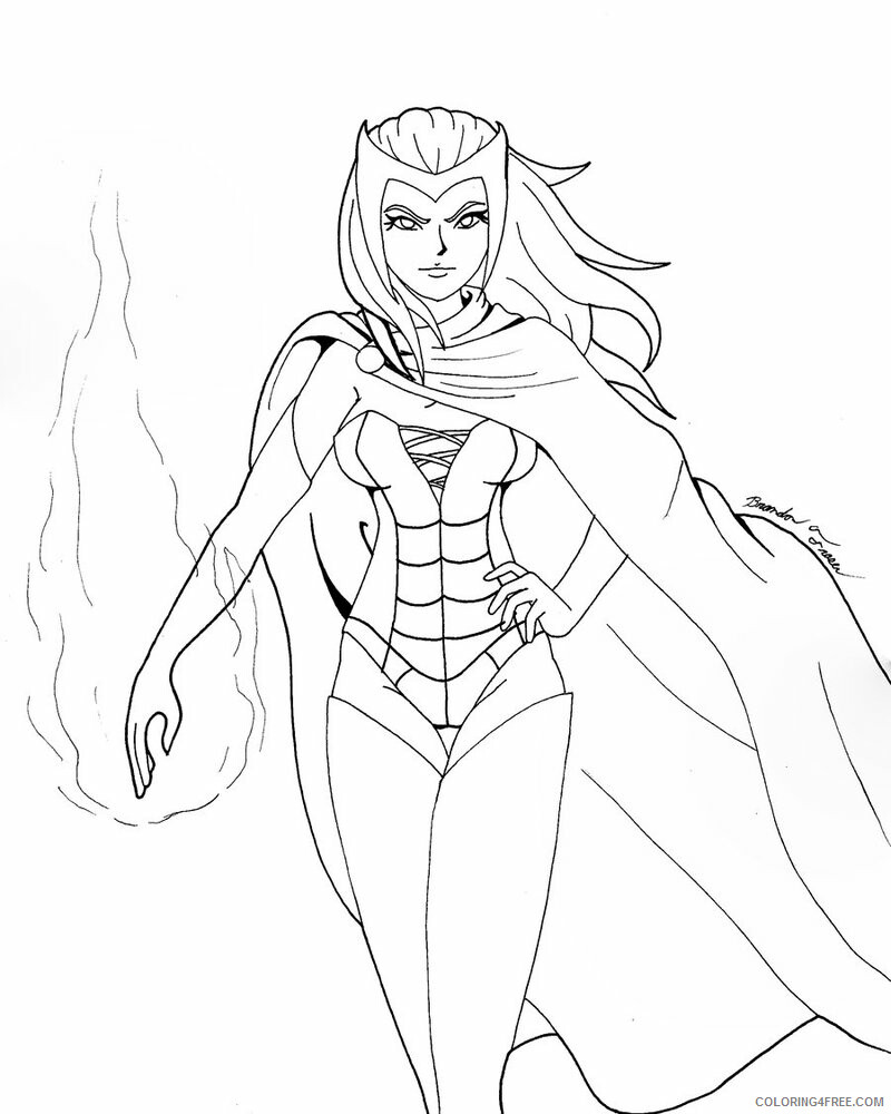 Witch Coloring Pages for Girls Scarlet Witch Printable 2021 1407 Coloring4free
