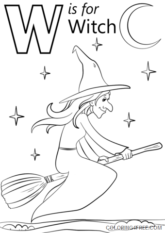 Witch Coloring Pages for Girls W is For Witch Printable 2021 1410 Coloring4free