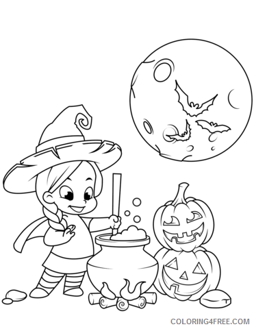Witch Coloring Pages for Girls cute little witch cooking a potion 2021 Coloring4free
