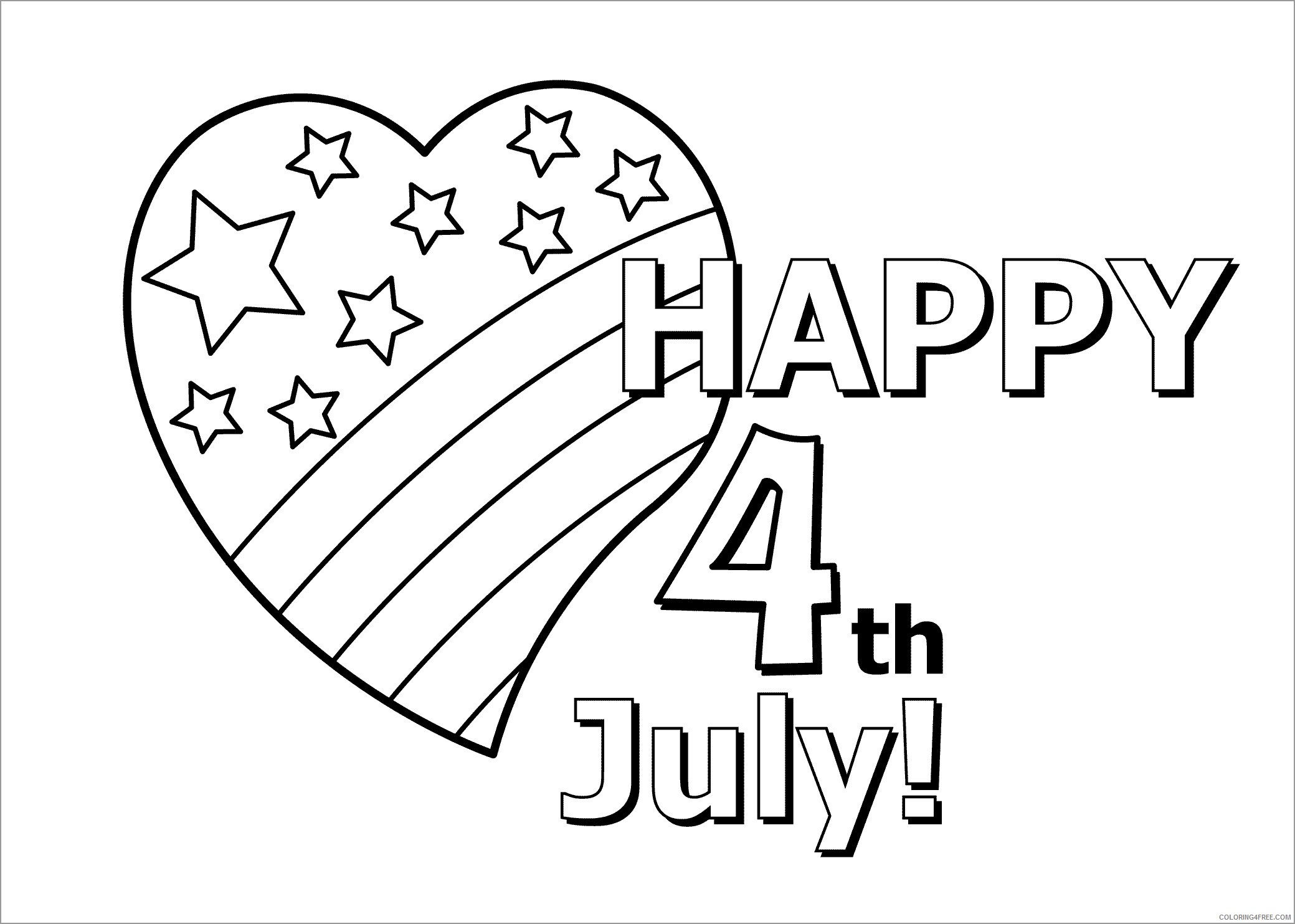 4th Of July Coloring Pages Happy 4th July Printable 2021 0030 Coloring4free Coloring4free Com