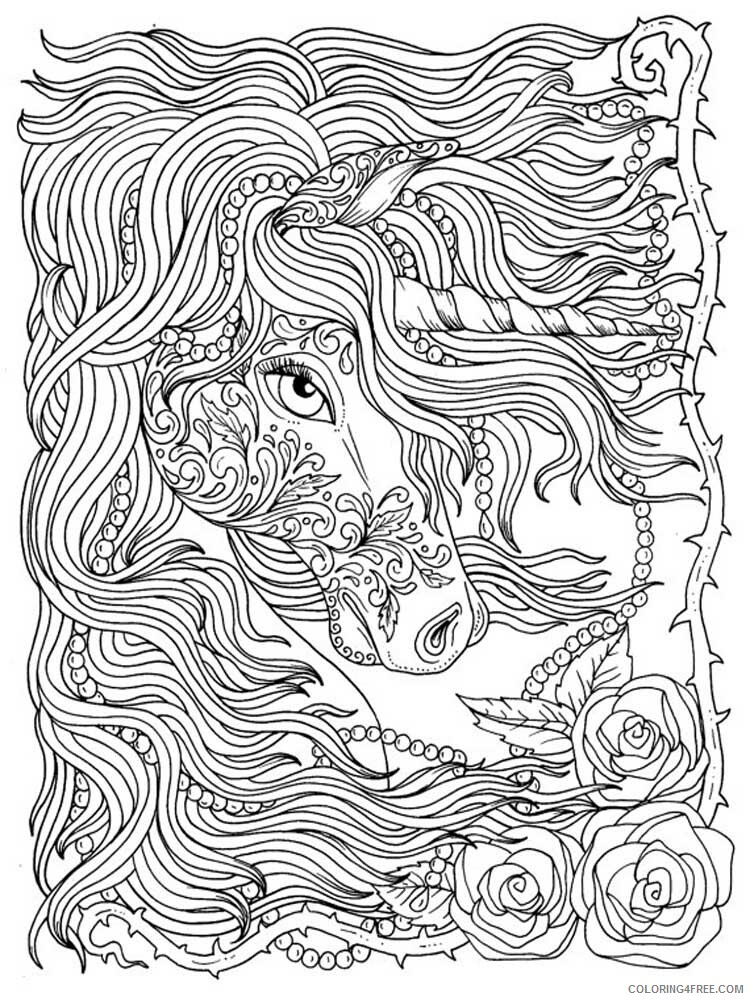 Adult Unicorn Coloring Pages Unicorn For Adults 7 Printable 2021 0091  Coloring4free - Coloring4Free.com