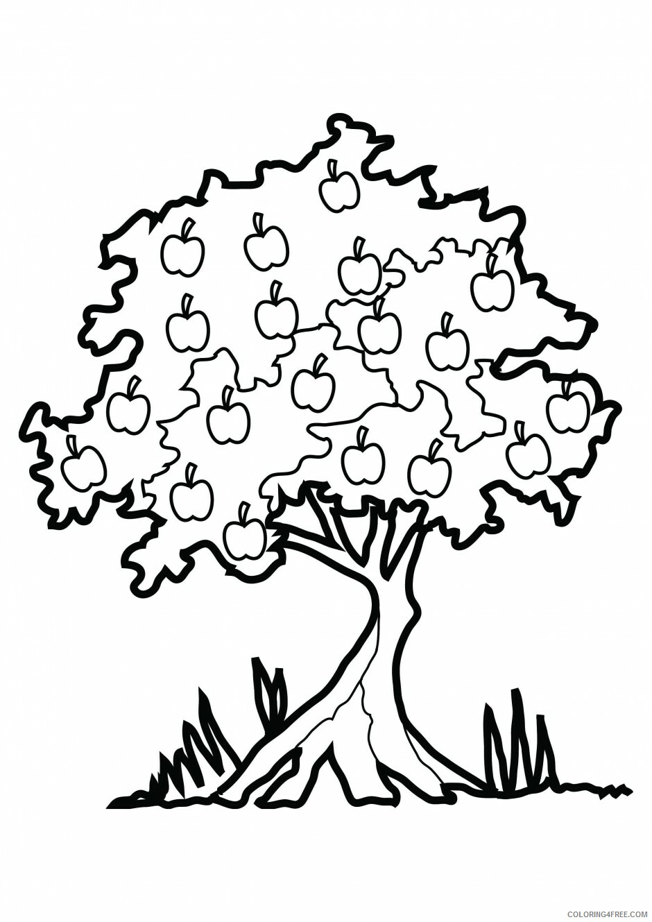 Apple Coloring Pages Fruits Food Apple Tree Johnny Appleseed Printable 2021 Coloring4free Coloring4free Com