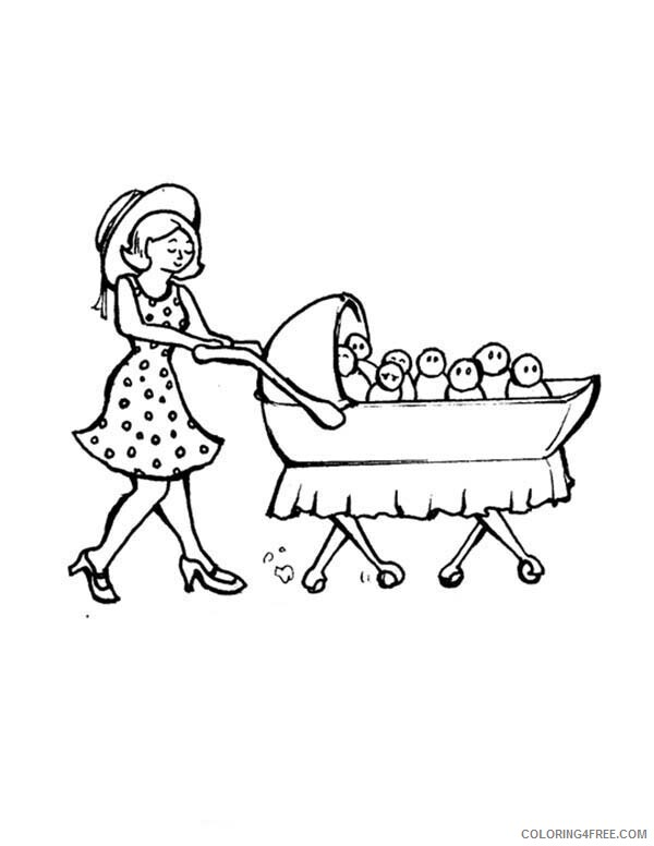Baby Coloring Pages Mom Pulling A Cart Full Of Baby Printable 2021 0418 Coloring4free Coloring4free Com