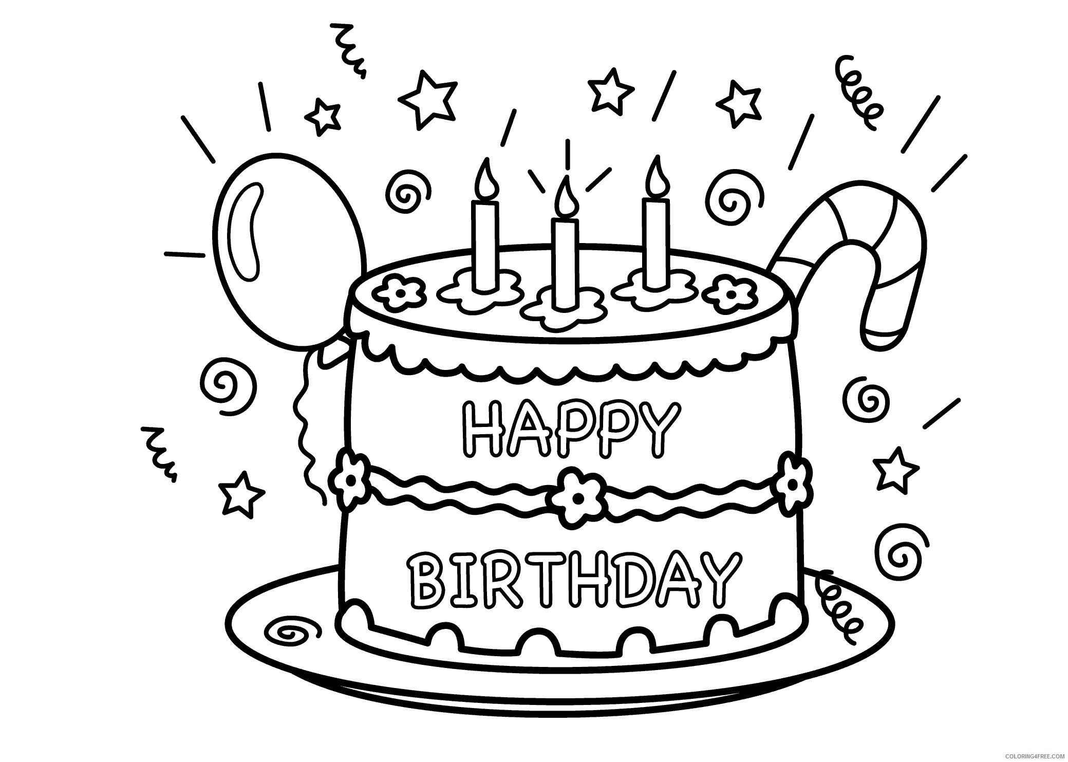 Birthday Cake Coloring Pages Food Birthday Cake Printable 2021 012 Coloring4free Coloring4free Com