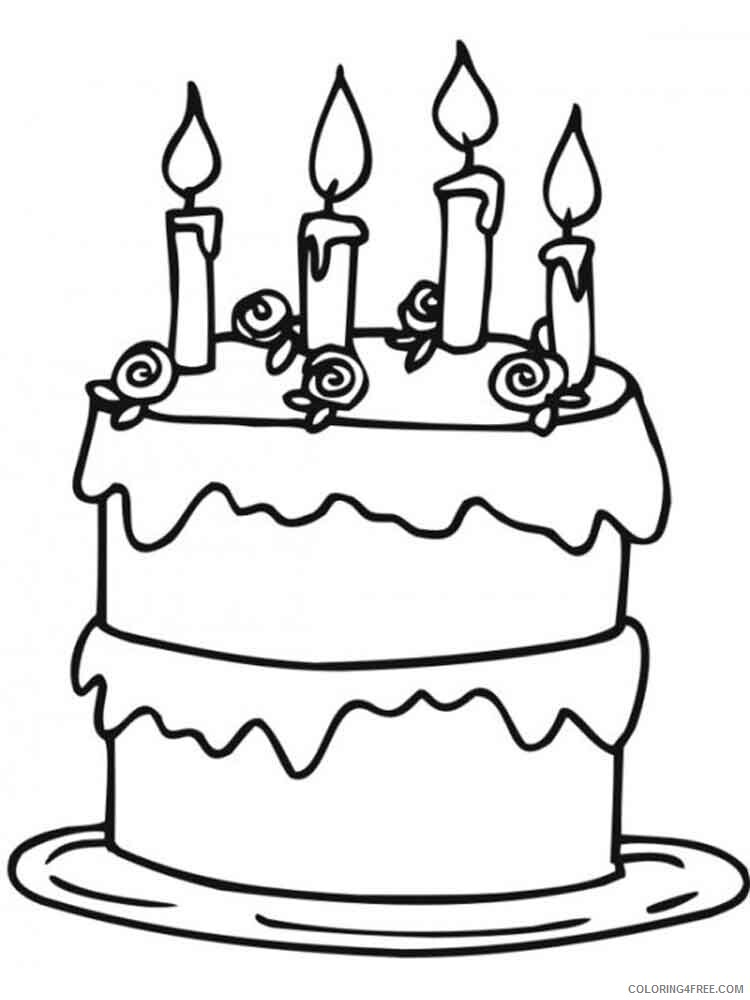 Birthday Cake Coloring Pages Food Birthday Cake 13 Printable 2021 006 Coloring4free Coloring4free Com