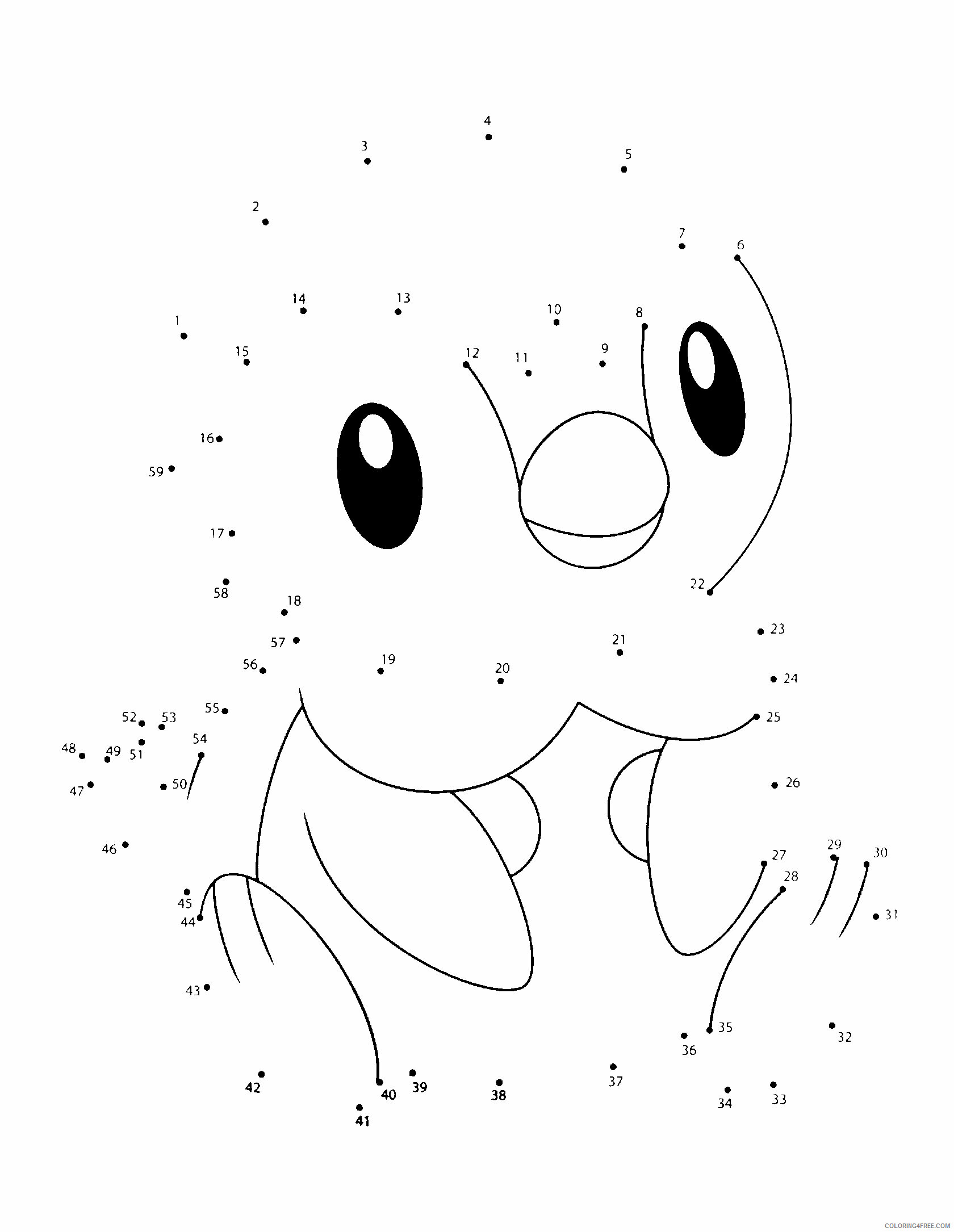 Connect the Dots Pokemon Characters Printable Coloring Pages pokemon 229 2021 022 Coloring4free