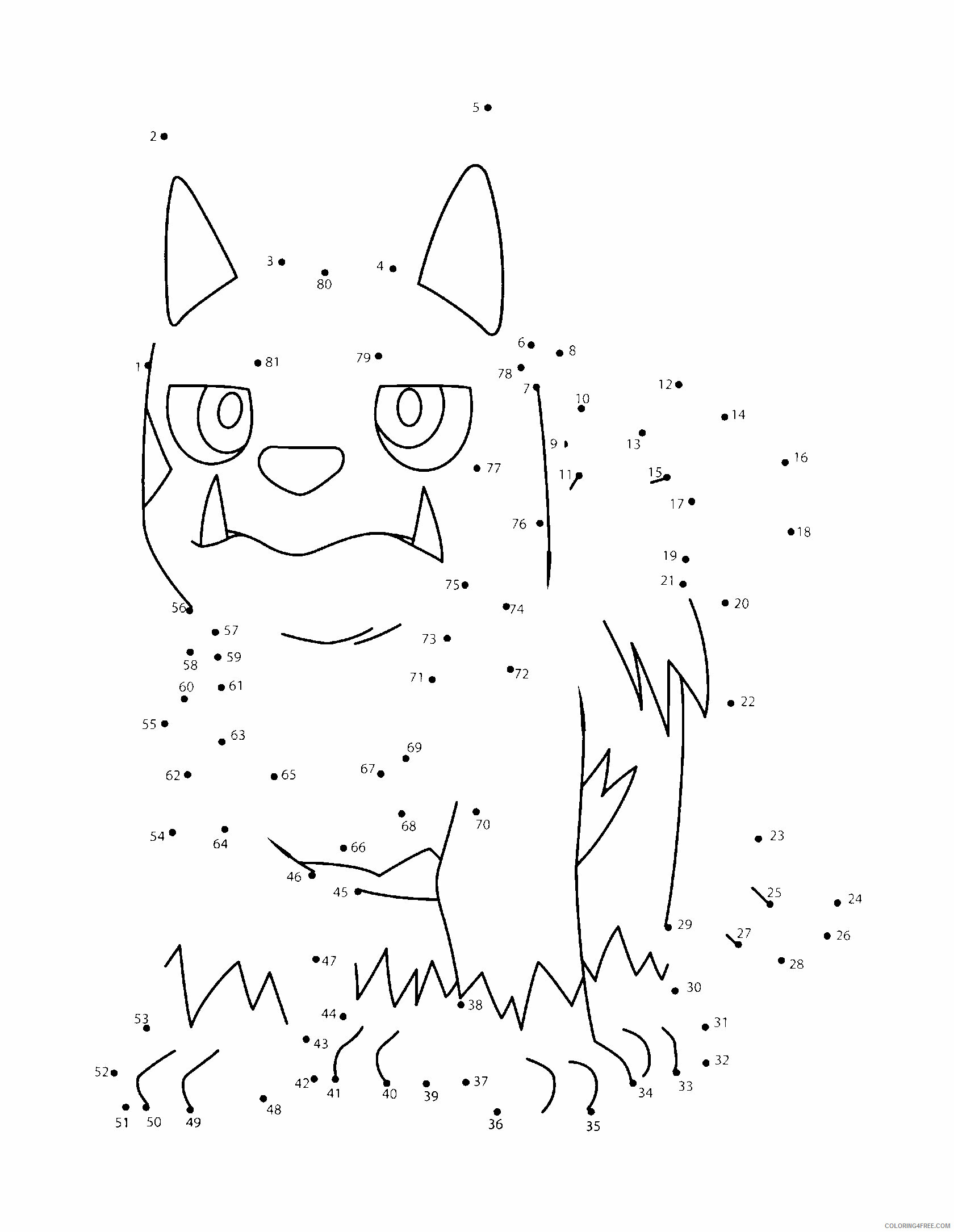 Connect the Dots Pokemon Characters Printable Coloring Pages pokemon 232 2021 024 Coloring4free