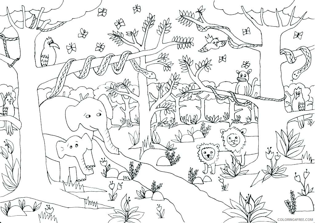 Jungle Coloring Pages Nature Cute Jungle Printable 2021 258 Coloring4free -  Coloring4Free.com