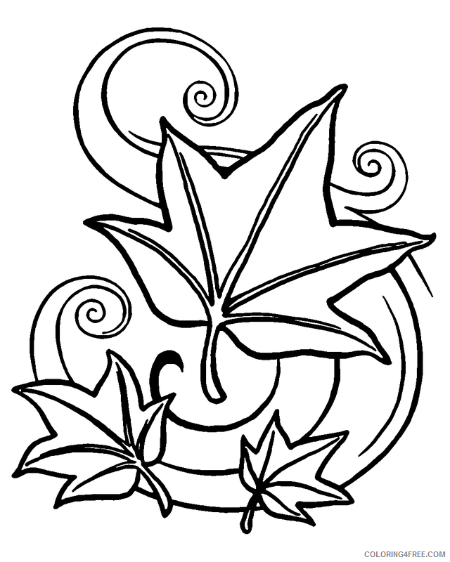 Leaves Coloring Pages Nature Fall Leaves 2 Printable 2021 351 Coloring4free  - Coloring4Free.com