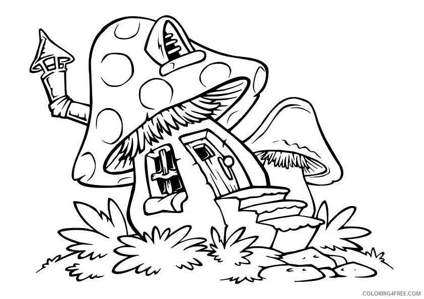 Mushrooms Coloring Pages Nature A Mushroom House A4 Printable 2021 392  Coloring4free - Coloring4Free.com