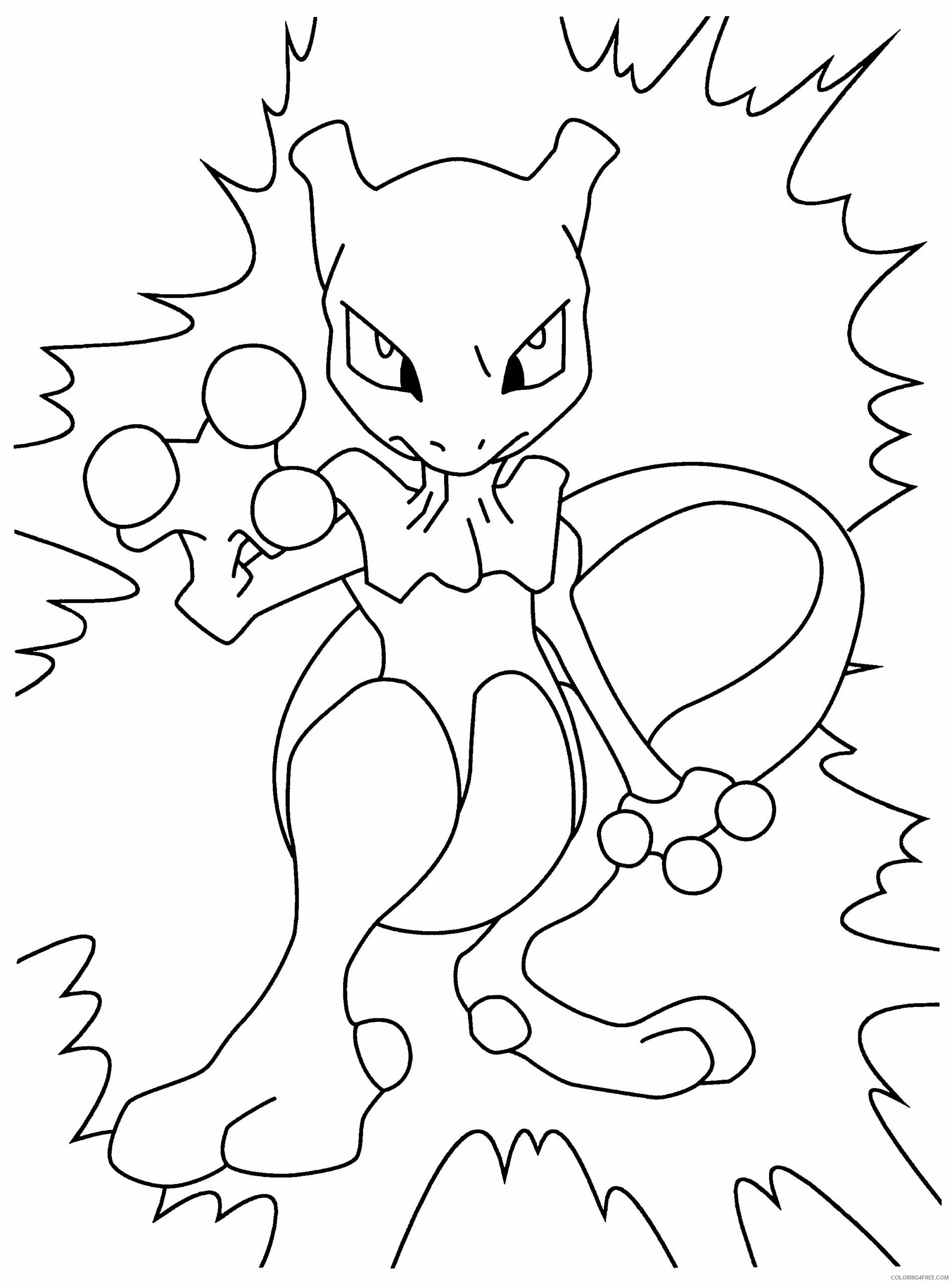 Pokemon Printable Coloring Pages Anime Mewtwo Pokemon 2021 061 Coloring4free Coloring4free Com
