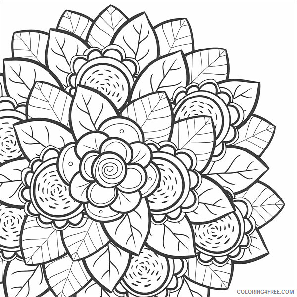 Printable Flower Coloring Pages Flowers Nature Free Flower For Teens Print  2021 Coloring4free - Coloring4Free.com