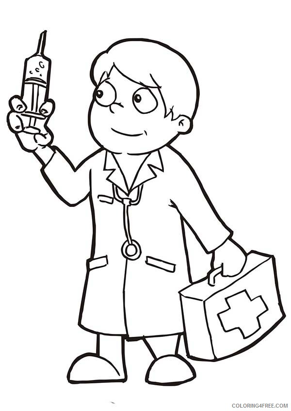 Doctor Coloring Pages Doctor Holding Epydermic Needle Printable 2021 2055 Coloring4free