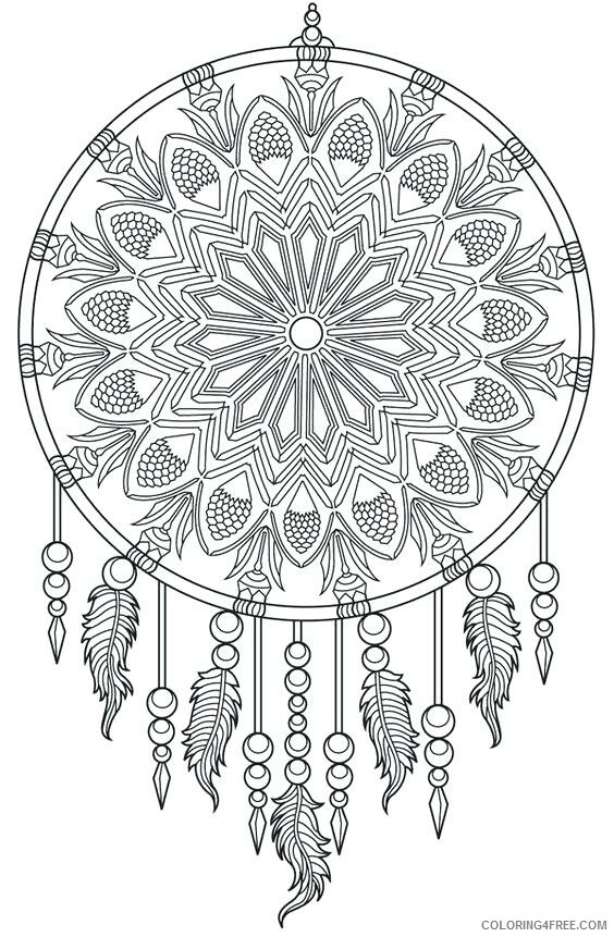 Dream Catcher Coloring Pages Detailed Dream Catcher Printable 2021 2076 Coloring4free