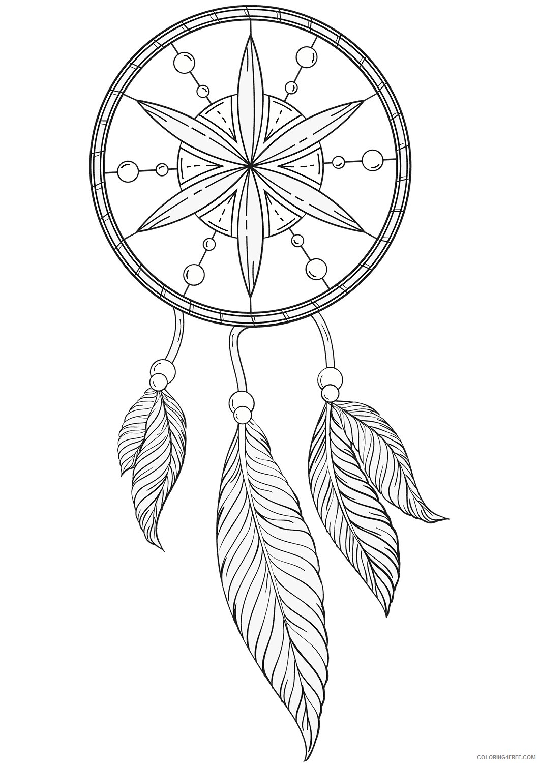 Dream Catcher Coloring Pages Free Dream Catcher Printable 2021 2087 Coloring4free
