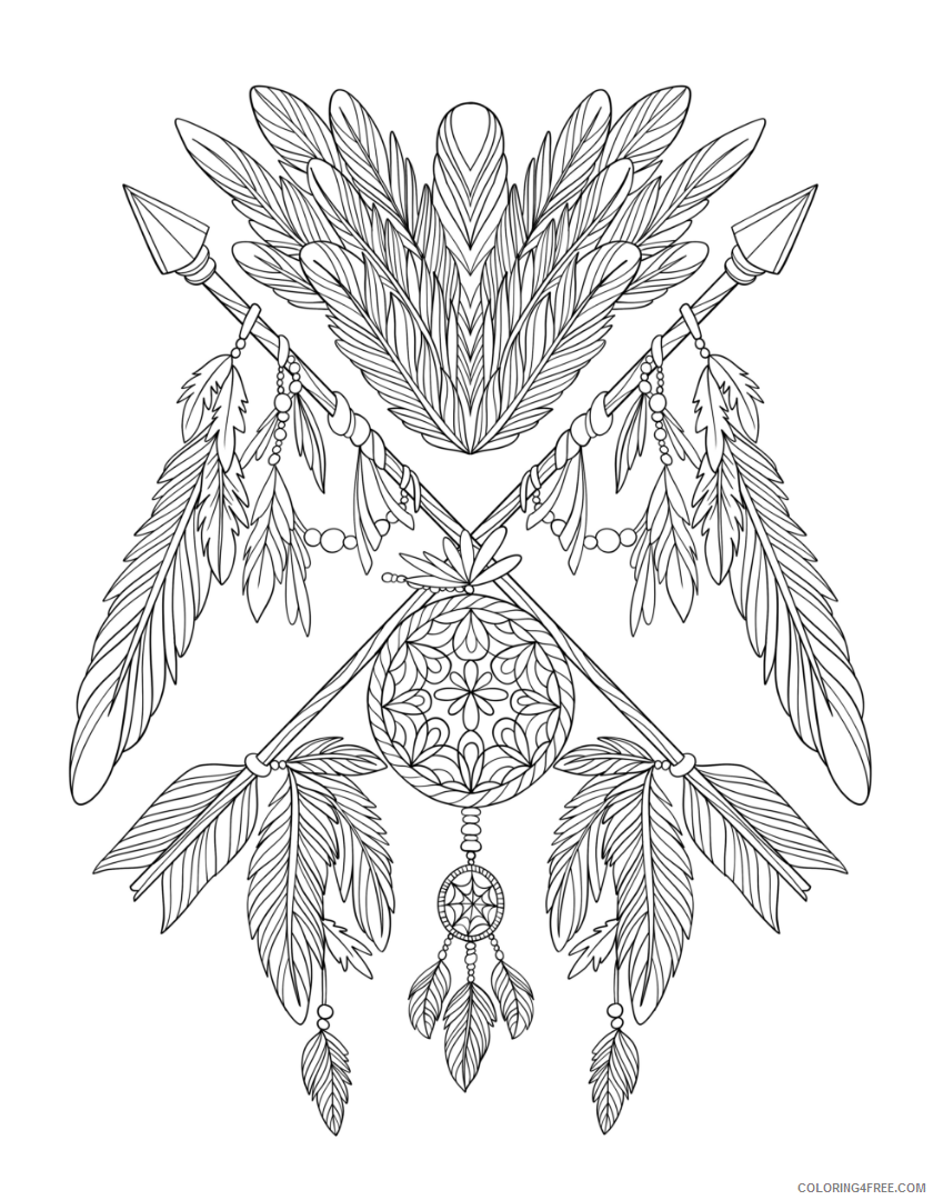 Dream Catcher Coloring Pages Print Dream Catcher Printable 2021 2091 Coloring4free