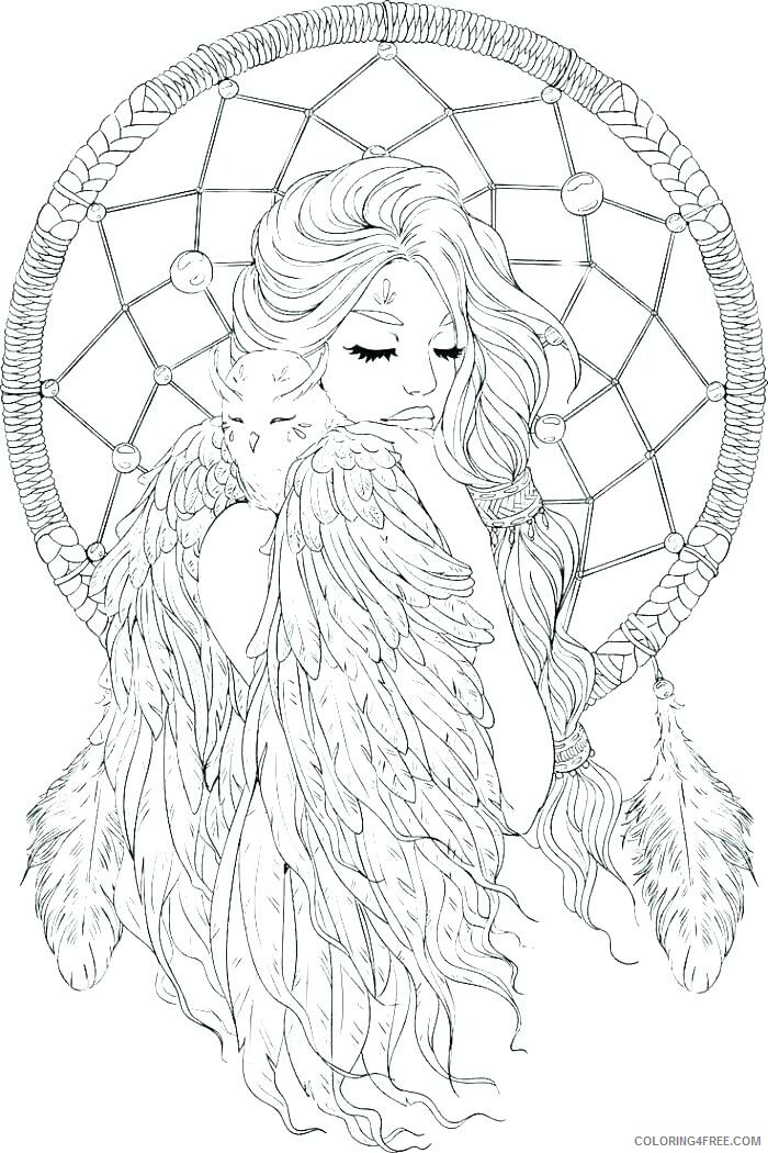 Dream Catcher Coloring Pages Woman Dream Catcher Printable 2021 2094 Coloring4free