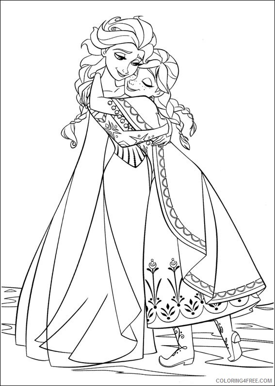 Elsa Coloring Pages elsa and anna hugging Printable 2021 2111 Coloring4free