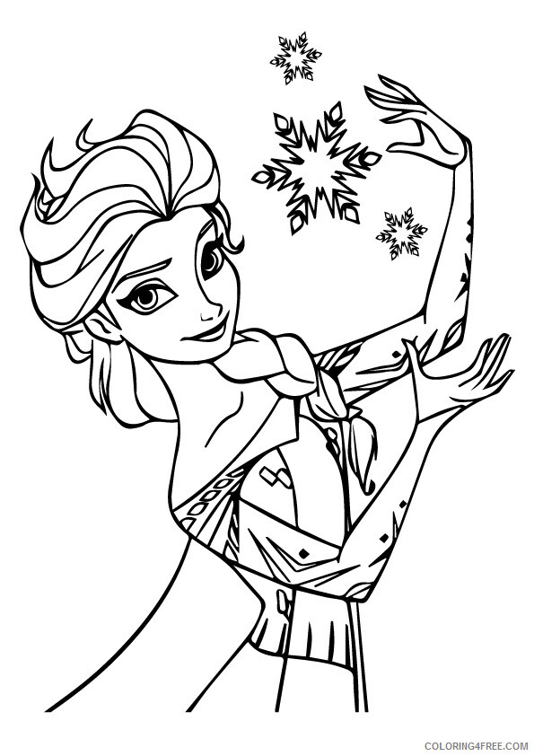 Elsa Coloring Pages elsa during christmas a4 Printable 2021 2126 Coloring4free