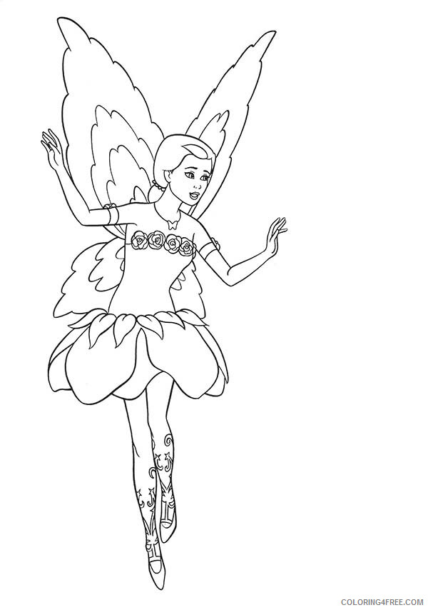 Fairy Coloring Pages Barbie Doll Fairy Printable 2021 2307 Coloring4free