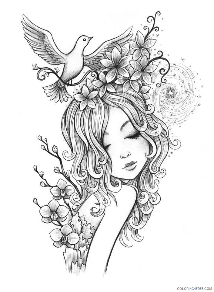 Fairy Coloring Pages Fairy Girl for Adults Printable 2021 2371 Coloring4free
