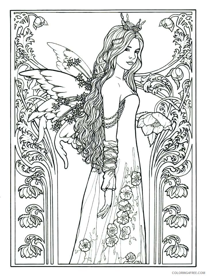 Fairy Coloring Pages Fairy for Adults to Printable 2021 2370 Coloring4free