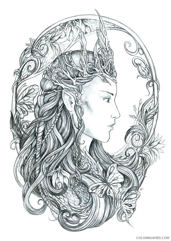 Fairy Coloring Pages Regal Fairy for Adult Printable 2021 2401 Coloring4free