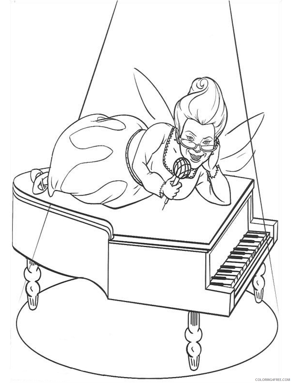 Fairy Coloring Pages fairy_on_piano a4 Printable 2021 2296 Coloring4free