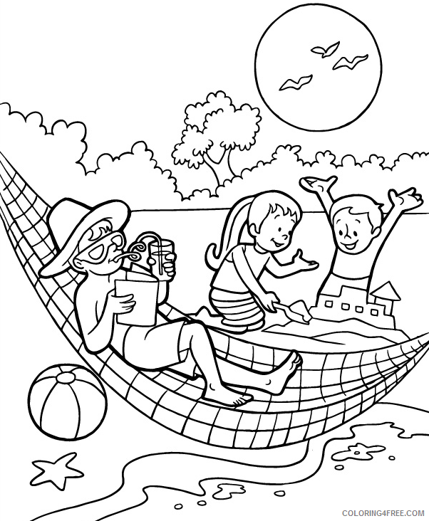 Family Coloring Pages Family at the Beach Printable 2021 2456 Coloring4free