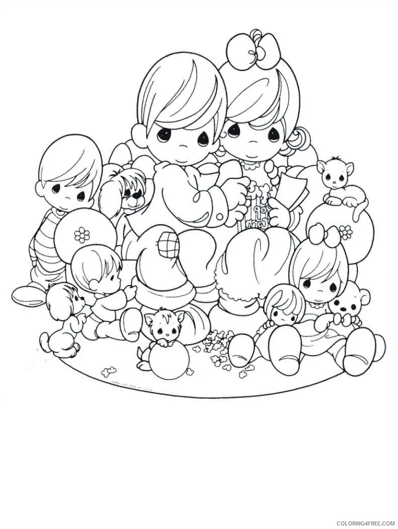 Family Coloring Pages Precious Moments Family Printable 2021 2481 Coloring4free