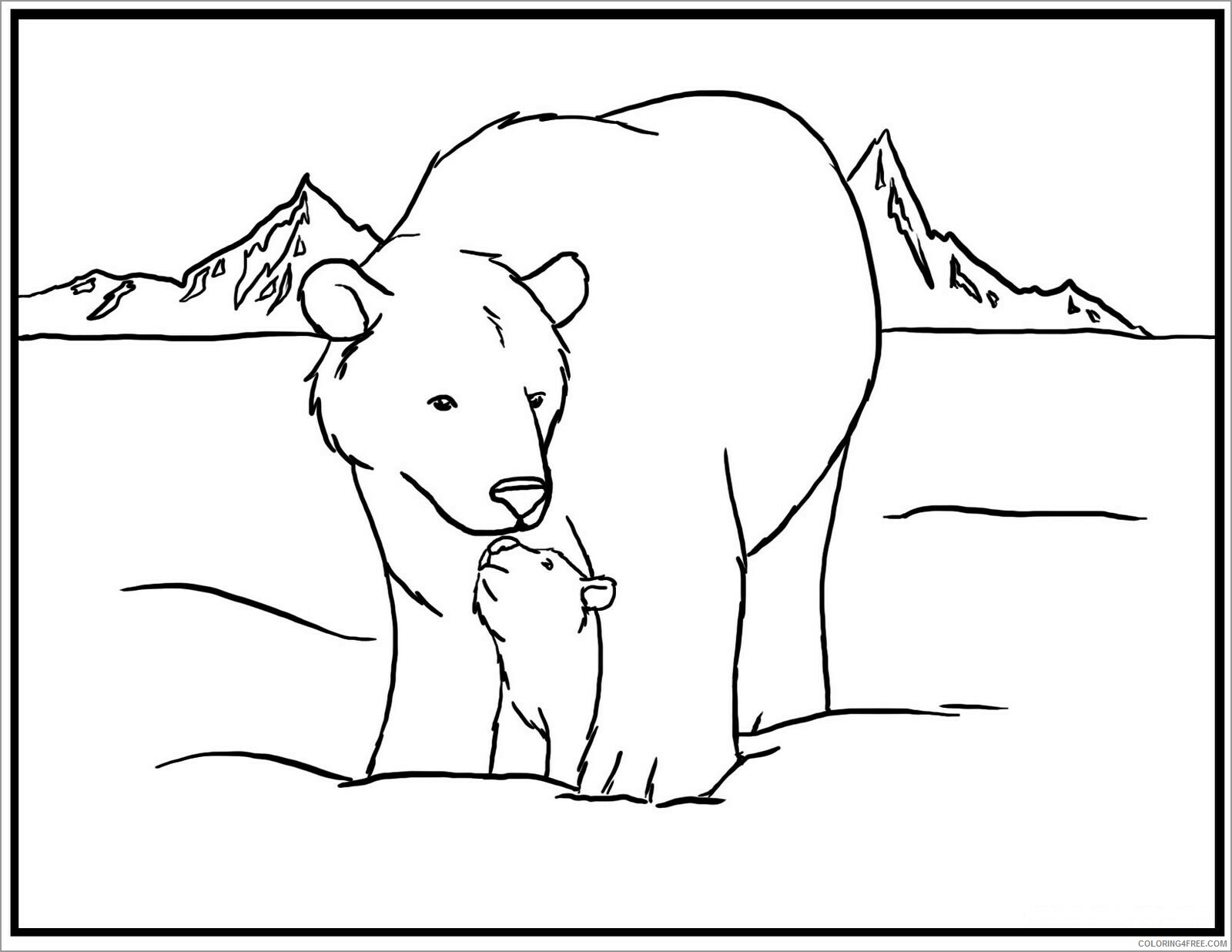 Family Coloring Pages arctic bear family animal Printable 2021 2431 Coloring4free
