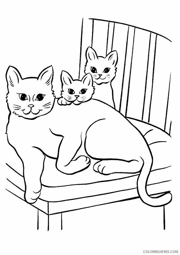Family Coloring Pages kitten family Printable 2021 2473 Coloring4free