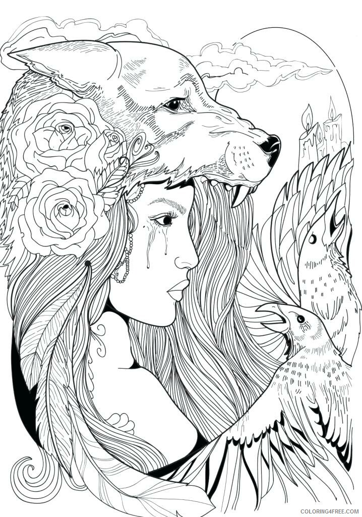 Fantasy Coloring Pages Woman with Wolf Hat Fantasy Printable 2021 2524 Coloring4free