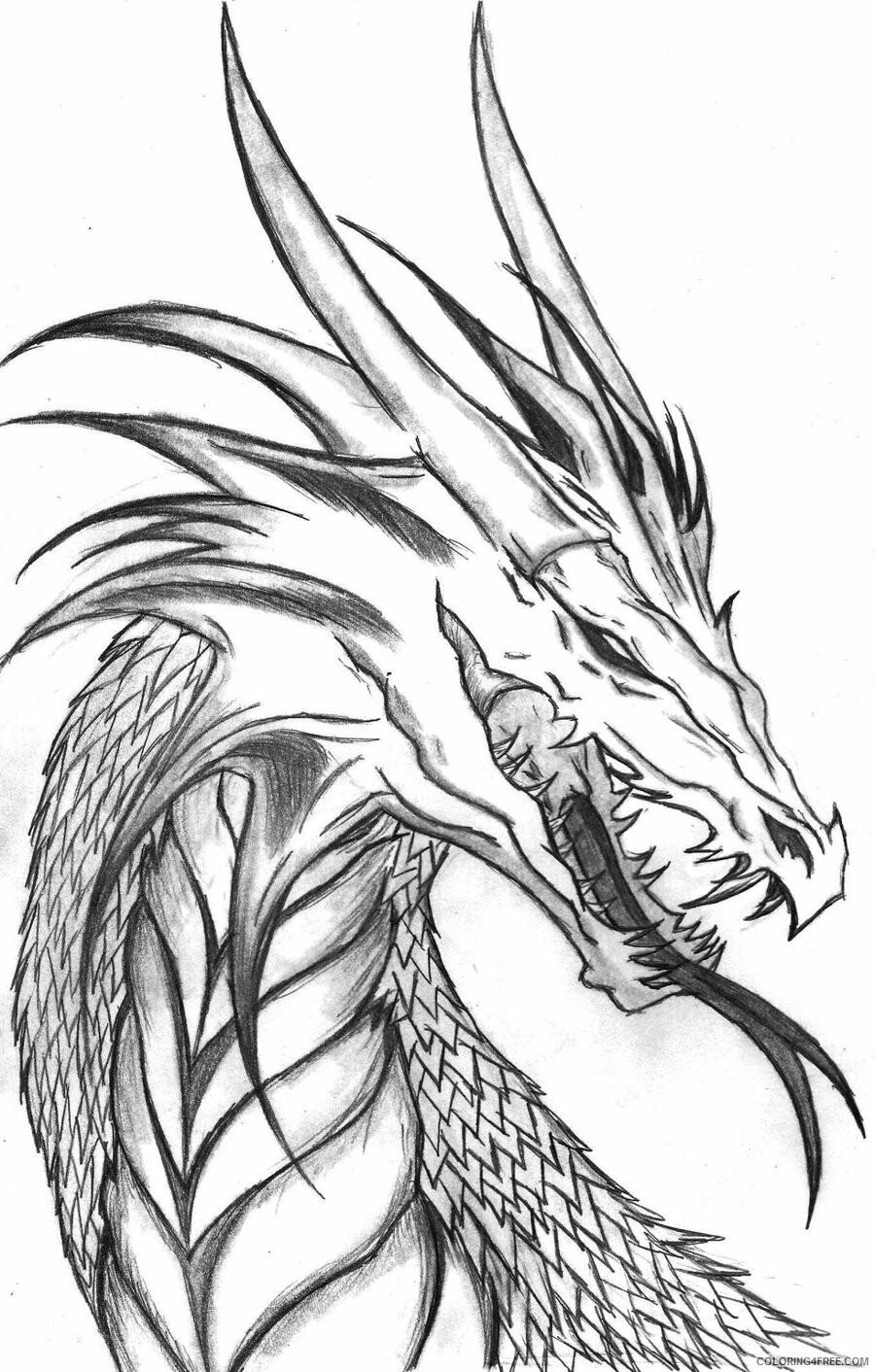 Fantasy Dragons Coloring Pages Dragon Head Printable 2021 2583 Coloring4free