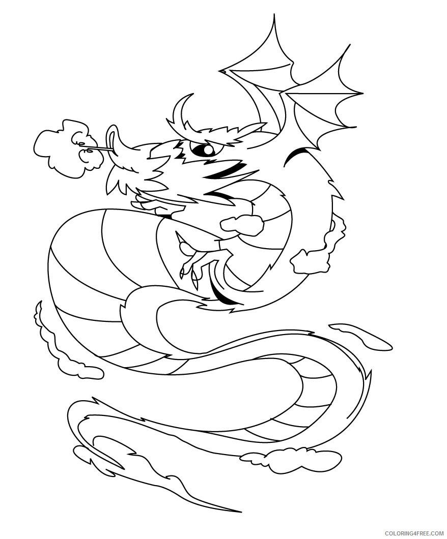 Fantasy Dragons Coloring Pages Dragon Printable 2021 2581 Coloring4free