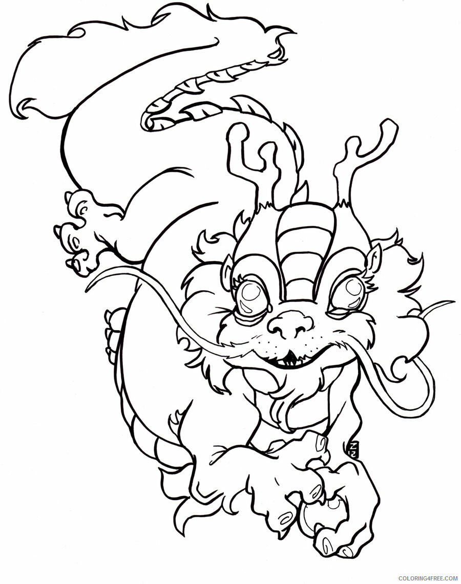 Fantasy Dragons Coloring Pages Dragon Tattoo Adults Printable 2021 2586 Coloring4free