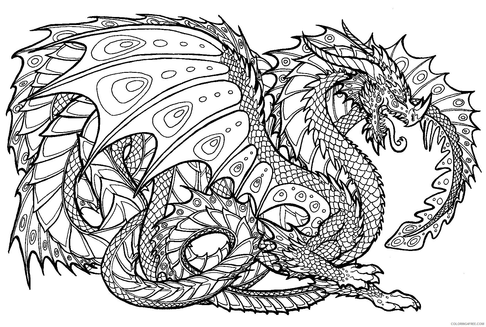 Fantasy Dragons Coloring Pages Dragon for Adults Printable 2021 2562 Coloring4free