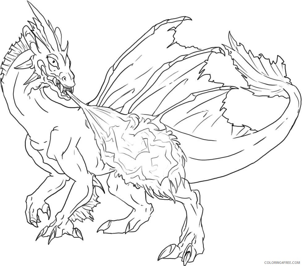 Fantasy Dragons Coloring Pages Fiery Dragon Adult Printable 2021 2591 Coloring4free