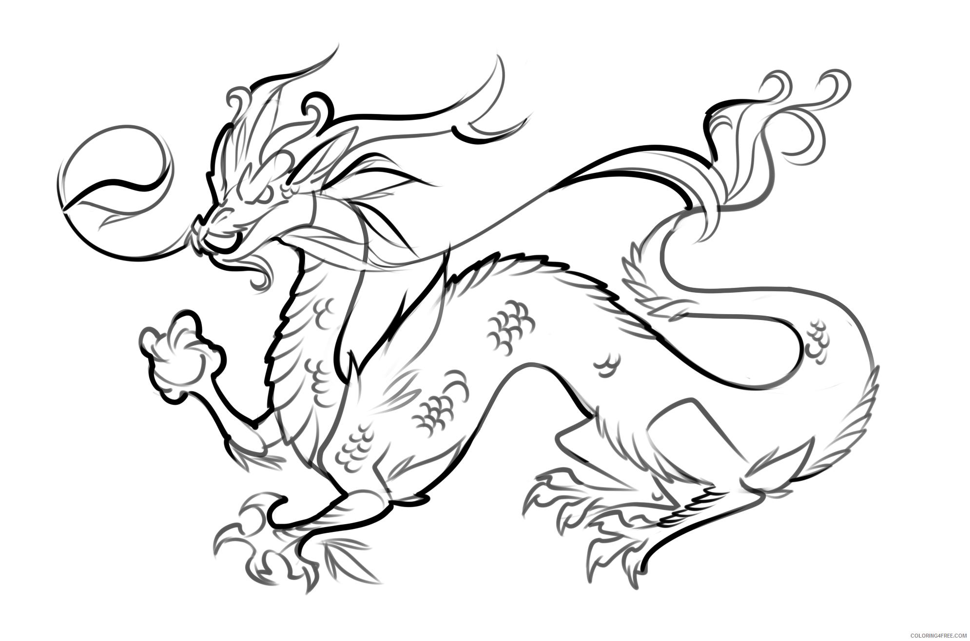 Fantasy Dragons Coloring Pages Japanese Dragon Printable 2021 2593 Coloring4free